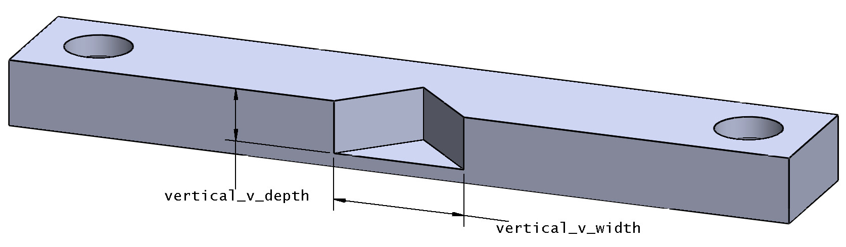Vertical v-groove drawing